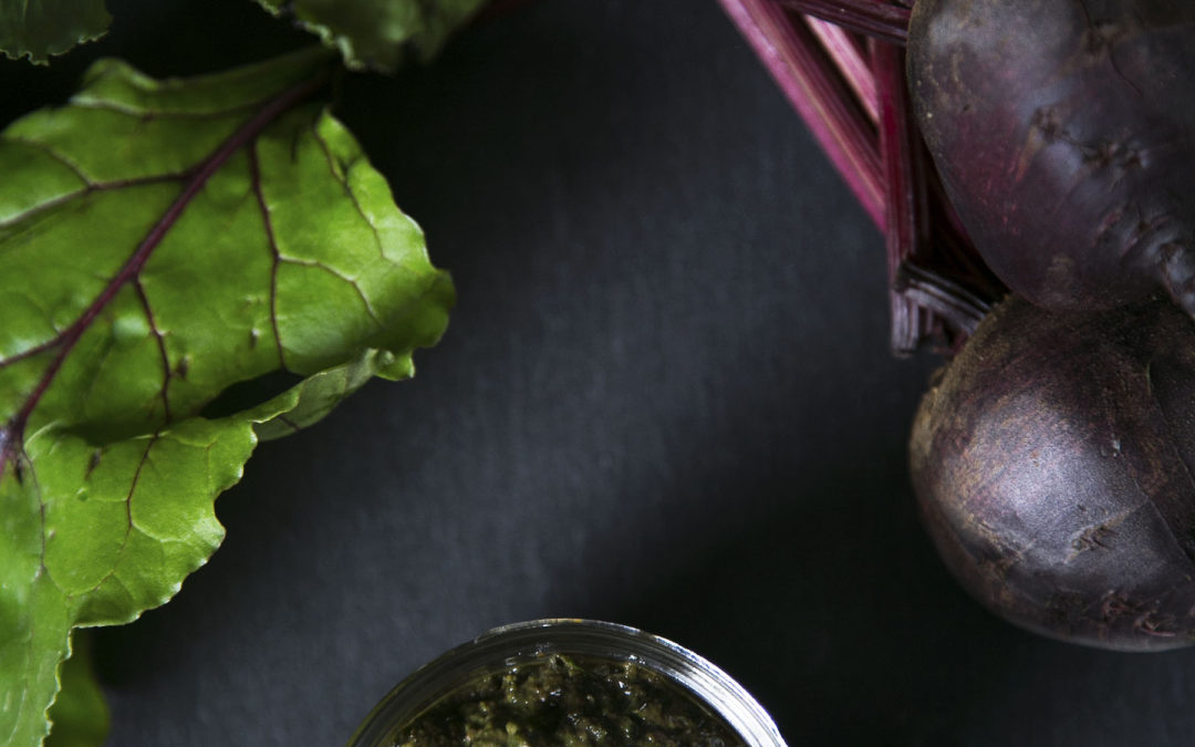Beet greens pesto with lemon and basil essential oils