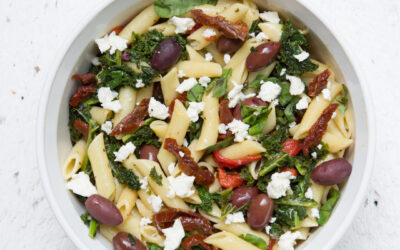 Sautéed Kale Pasta Salad with Feta Cheese
